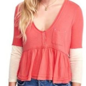 Free People CameliaCombo Top Sz Med Coral/Cream